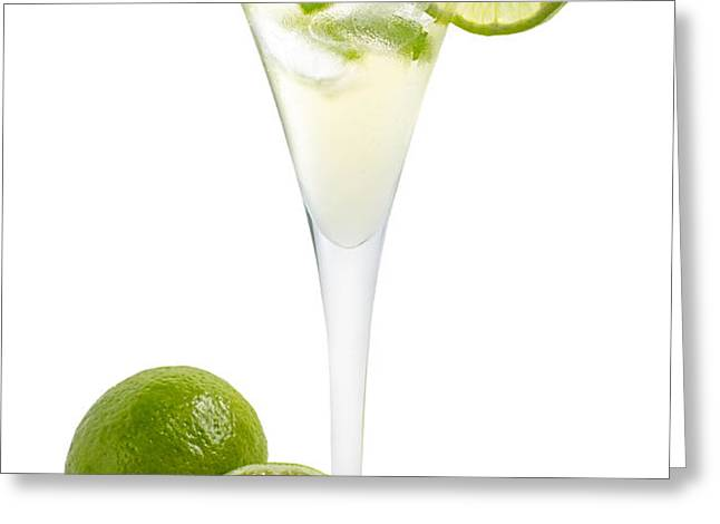 Drink with lime and mint in a champagne glass Greeting Card by Palatia Photo