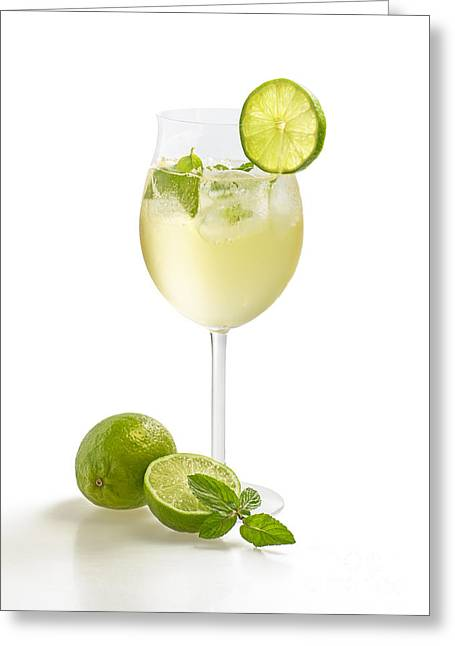 Prosecco Greeting Cards - Drink with lime and mint in a wine glass Greeting Card by Palatia Photo