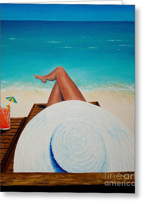 Recently Sold -  - Lounge Paintings Greeting Cards - Drinkin It In Greeting Card by CheryLynn Ferrari