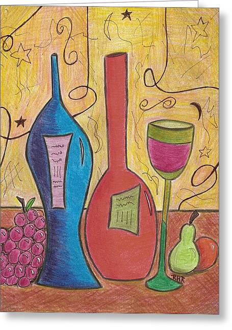 Wine-glass Drawings Greeting Cards - Drinking Alone Greeting Card by Ray Ratzlaff
