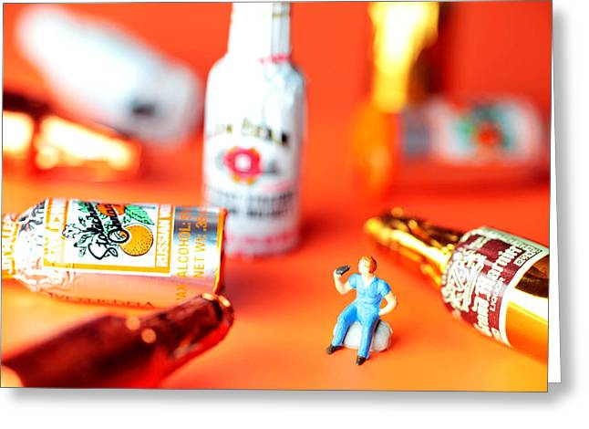 Creative People Digital Art Greeting Cards - Drinking among Liquor Filled Chocolate Bottles Greeting Card by Paul Ge