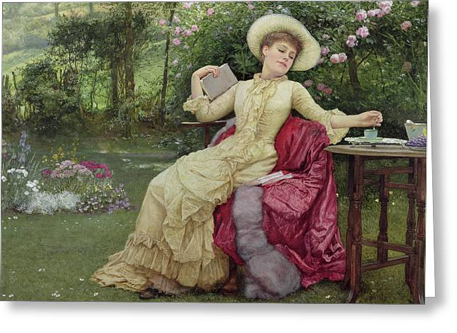 Coffee Drinking Greeting Cards - Drinking Coffee and Reading in the Garden Greeting Card by Edward Killingworth Johnson