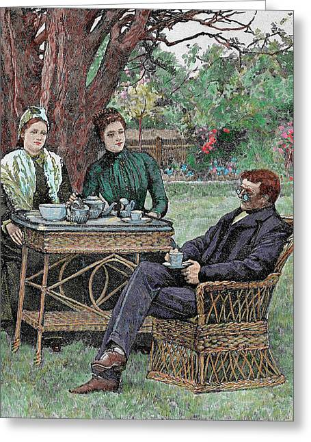 Drinking Coffee In The Garden Greeting Card by Prisma Archivo