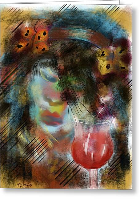 Red Wine Prints Greeting Cards - Drinking Gipsy Greeting Card by Miroslaw  Chelchowski