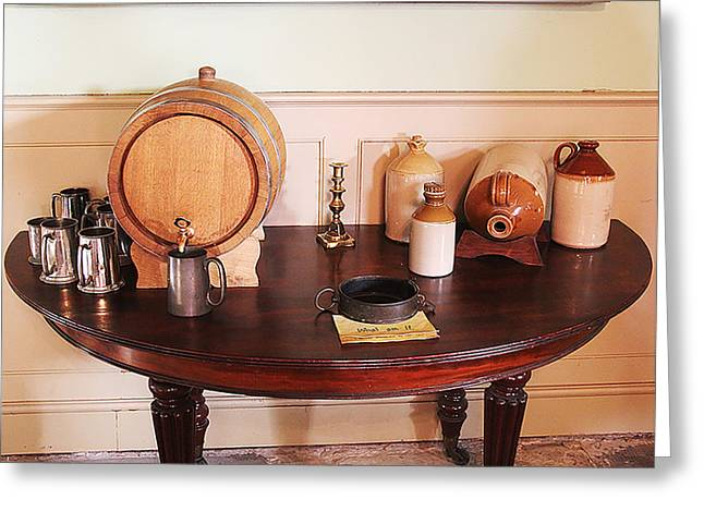 Flagon Greeting Cards - Drinking Table Greeting Card by Pamela Reynolds