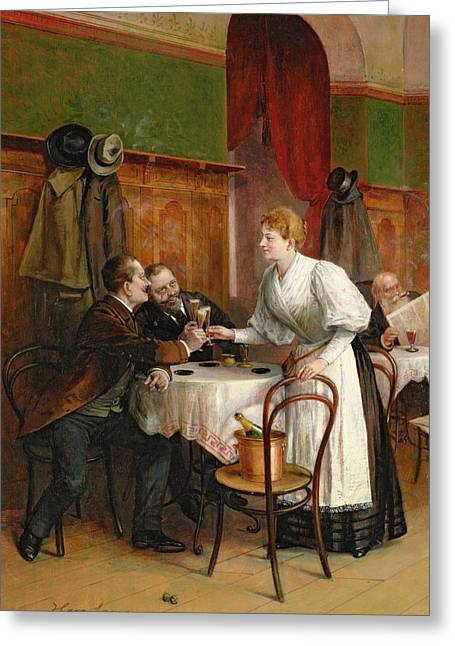 Waitresses Greeting Cards - Drinking their health Greeting Card by Hans August Lasser