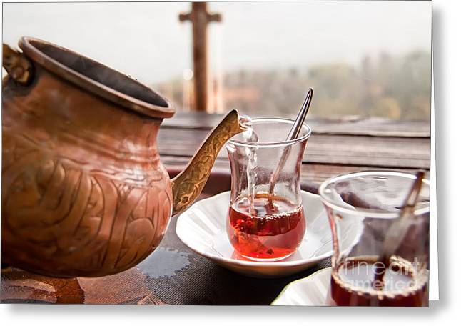 Pouring Greeting Cards - Drinking Turkish Tea Greeting Card by Leyla Ismet