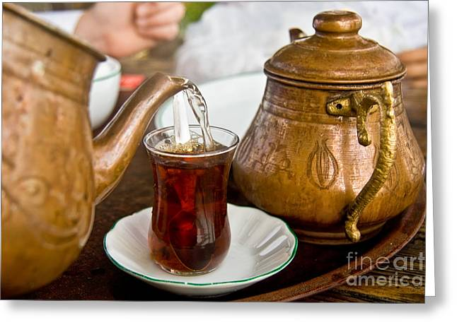 Tea Party Greeting Cards - Drinking Traditional Turkish Tea Greeting Card by Leyla Ismet