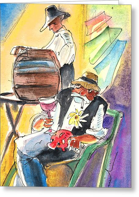 Drinking Wine In Lanzarote Greeting Card by Miki De Goodaboom