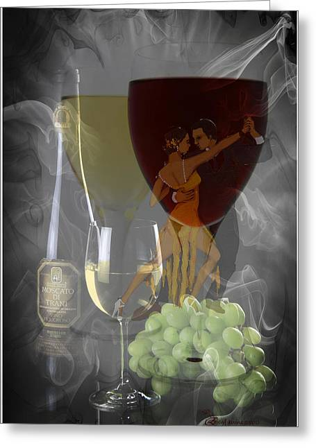 Wine-glass Greeting Cards - Drinks and Dancing Greeting Card by EricaMaxine  Price