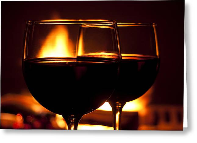 Cabernet Greeting Cards - Drinks by the Fire Greeting Card by Andrew Soundarajan