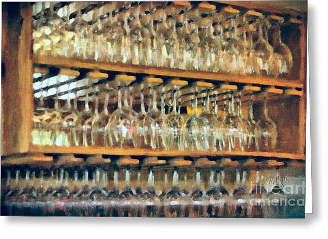 Mt. Airy Greeting Cards - Drinks On The House in Smoky Gold Greeting Card by Lois Bryan