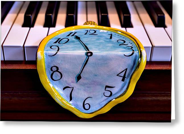 Music Time Photographs Greeting Cards - Dripping clock on piano keys Greeting Card by Garry Gay