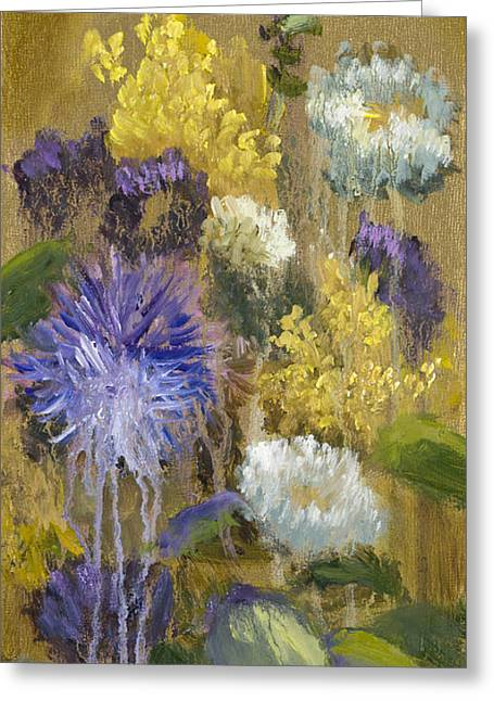 Splashy Paintings Greeting Cards - Drippy Bouquet with Gold Leaf by Vic Mastis Greeting Card by Vic  Mastis