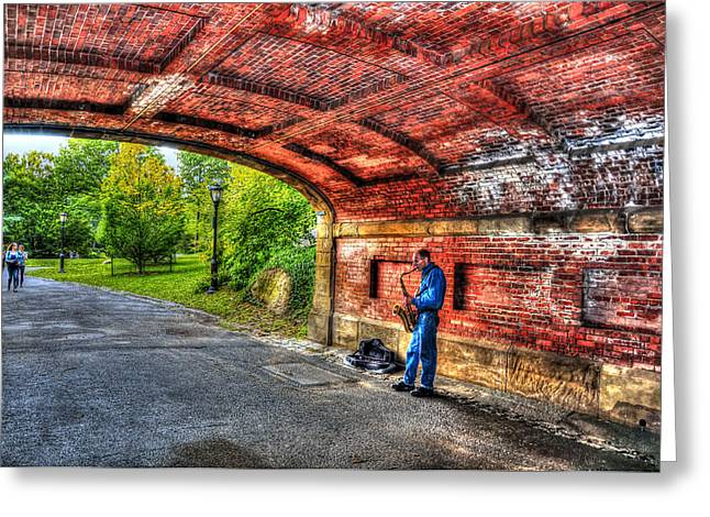 Drip Photographs Greeting Cards - Driprock Arch Sax Player Too Greeting Card by Randy Aveille