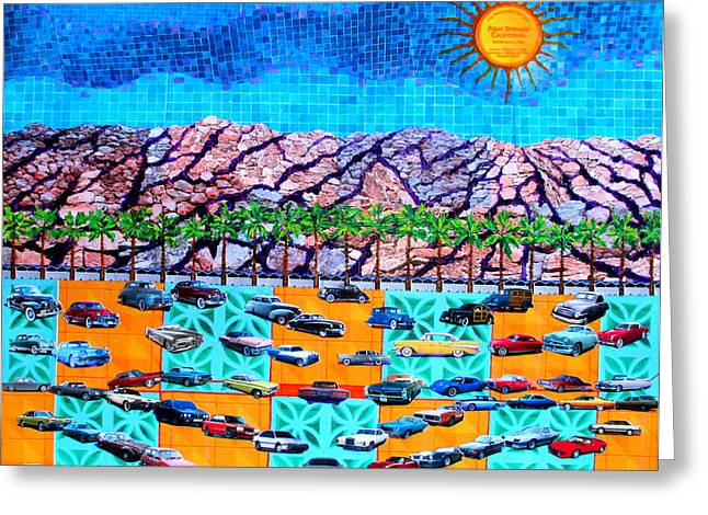 Collectible Mixed Media Greeting Cards - Drive 75 Palm Springs Auto Biography Greeting Card by Randall Weidner