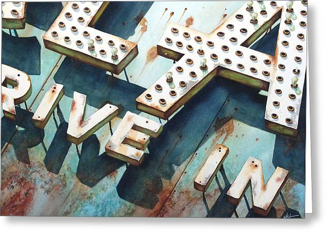 Old Drive In Greeting Cards - Drive In Greeting Card by Greg Halom