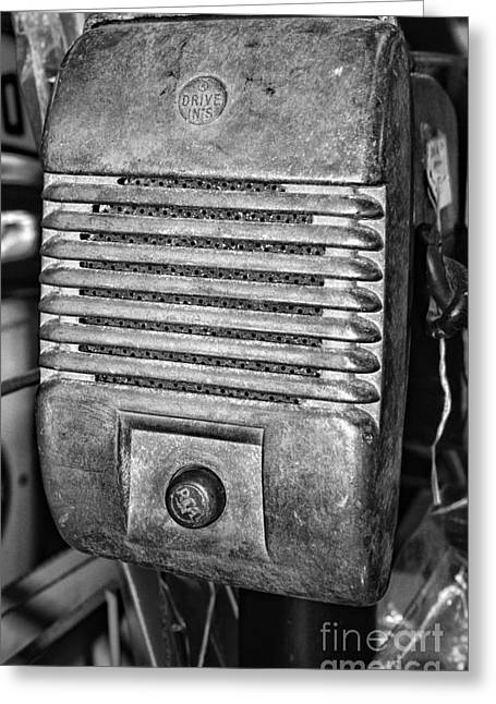 Drive In Theatre Greeting Cards - Drive in Movie Speaker in black and white Greeting Card by Paul Ward