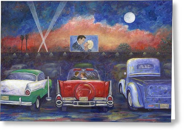 49 Chevy Greeting Cards - Drive-in Movie Theater Greeting Card by Linda Mears
