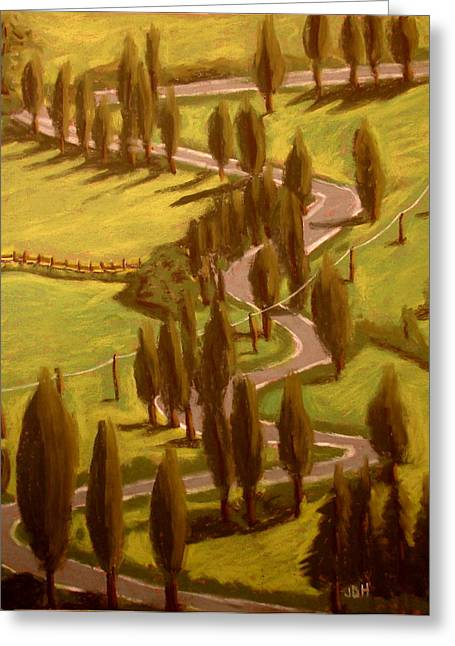 Windy Pastels Greeting Cards - Drive Through Italy Greeting Card by Joseph Hawkins
