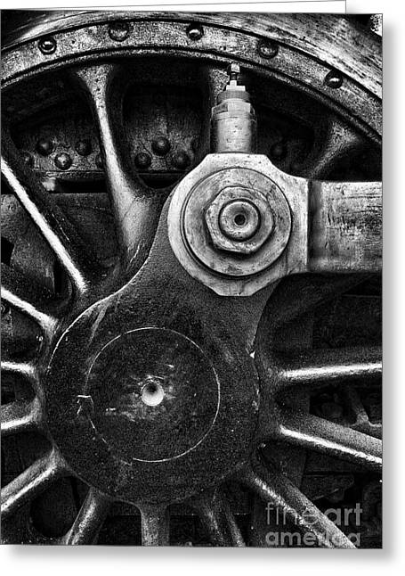 Locomotive Wheels Greeting Cards - Drive Wheel in BW Greeting Card by Paul W Faust -  Impressions of Light
