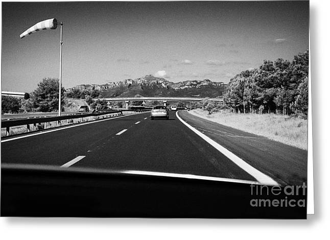 Ap Greeting Cards - Driving Along Ap-7 Autopista Del Mediterraneo Toll Road Barcelona To Valencia Spain In Crosswinds Greeting Card by Joe Fox