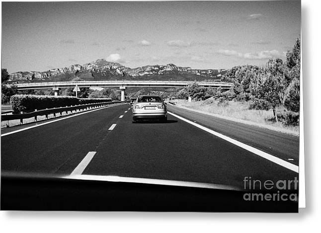 Ap Greeting Cards - Driving Along Ap-7 Autopista Del Mediterraneo Toll Road Barcelona To Valencia Spain Greeting Card by Joe Fox