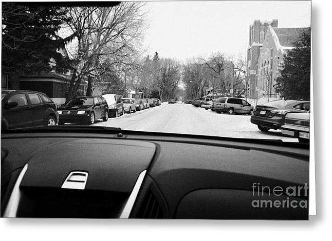 Driving Greeting Cards - Driving Along Snow Covered Streets Looking For Onstreet Parking Saskatoon Saskatchewan Canada Greeting Card by Joe Fox