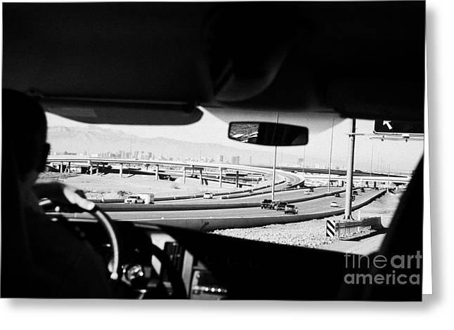 Driving Greeting Cards - Driving Along The Great Basin Hwy Towards Las Vegas Expressway Nevada Usa Greeting Card by Joe Fox