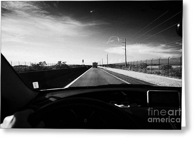 Driving Greeting Cards - Driving Along Us Route One Overseas Highway Florida Keys Usa Greeting Card by Joe Fox