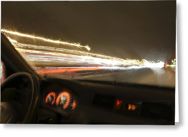 Patterned Greeting Cards - Driving at night on a slippery road Greeting Card by Intensivelight