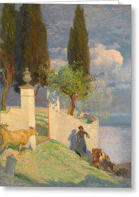 Italian Lake Greeting Cards - Driving Cattle Lake Como Greeting Card by Joseph Walter West
