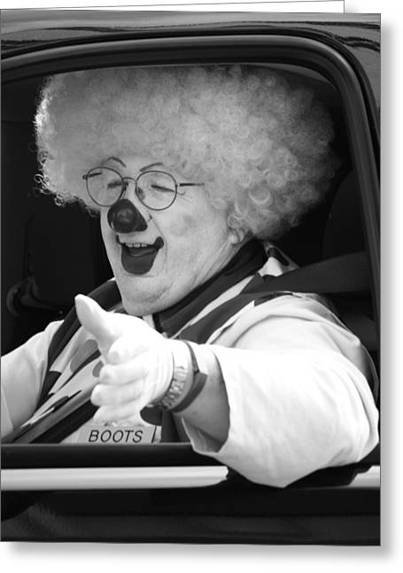 Driving Clown  Greeting Card by Jerry Cordeiro