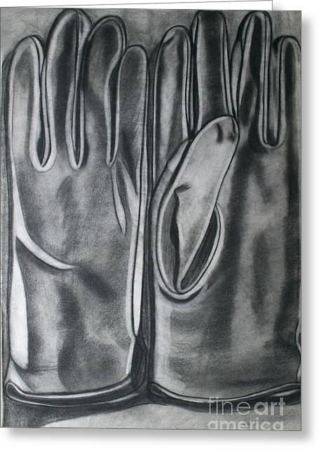 Leather Glove Drawings Greeting Cards - Driving Gloves Greeting Card by Cecilia Stevens