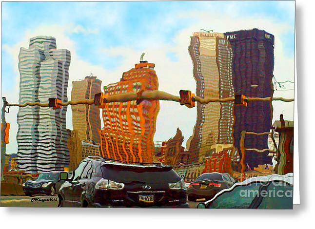Roadway Greeting Cards - I Love Pittsburgh - Comical Daily Drive and Downtown View Greeting Card by Shelly Weingart