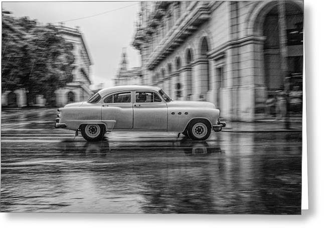 Habana Greeting Cards - Driving in the Rain Greeting Card by Erik Brede