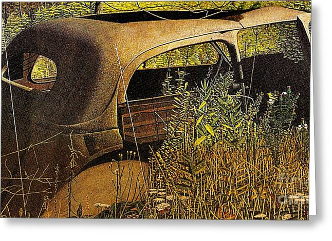 Rusted Cars Mixed Media Greeting Cards - Driving Miss Daiy Greeting Card by M and L Creations