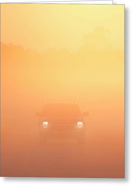 Driving On A Foggy Morning, Florida Greeting Card by Maresa Pryor