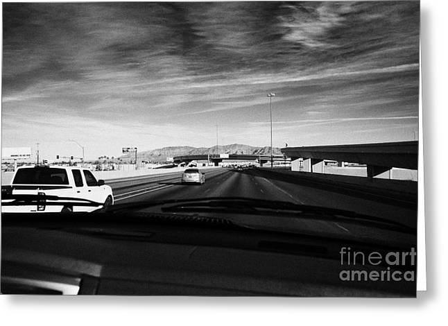 Driving Greeting Cards - Driving On Interstate 15 North Out Of Las Vegas Nevada Usa Greeting Card by Joe Fox