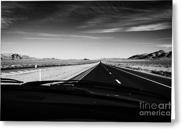Driving Greeting Cards - Driving On Interstate15 Through The Great Basin Nevada Usa Greeting Card by Joe Fox