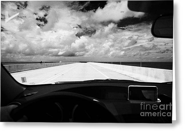 Driving Greeting Cards - Driving Over New Seven Mile Marathon Bridge Along Us Route One Overseas Highway Florida Keys Usa Greeting Card by Joe Fox