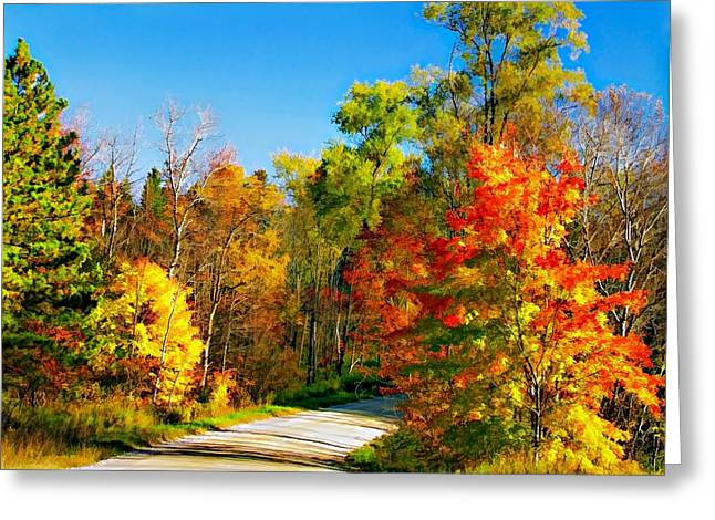 Back Road Digital Greeting Cards - Driving Through Autumn Greeting Card by Steve Harrington
