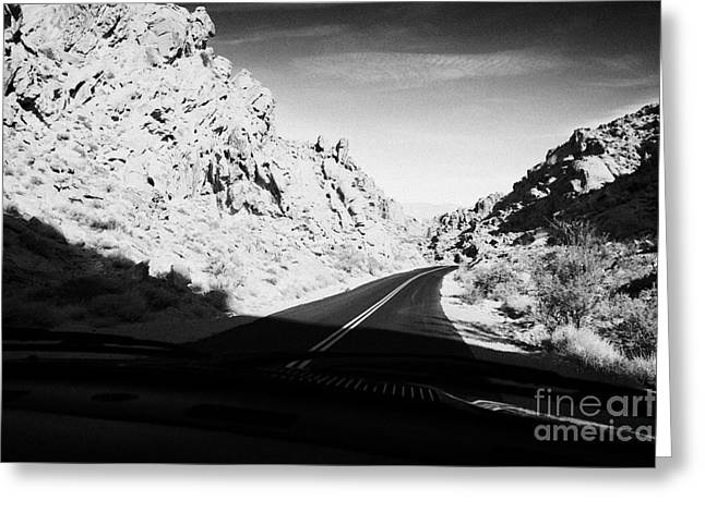 Scenic Drive Greeting Cards - Driving Through Canyons On The White Domes Road Scenic Drive Valley Of Fire State Park Nevada Usa Greeting Card by Joe Fox