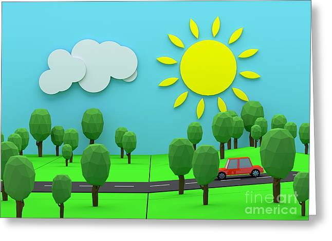 Pleasure Driving Greeting Cards - Driving through countryside Greeting Card by Jan Brons