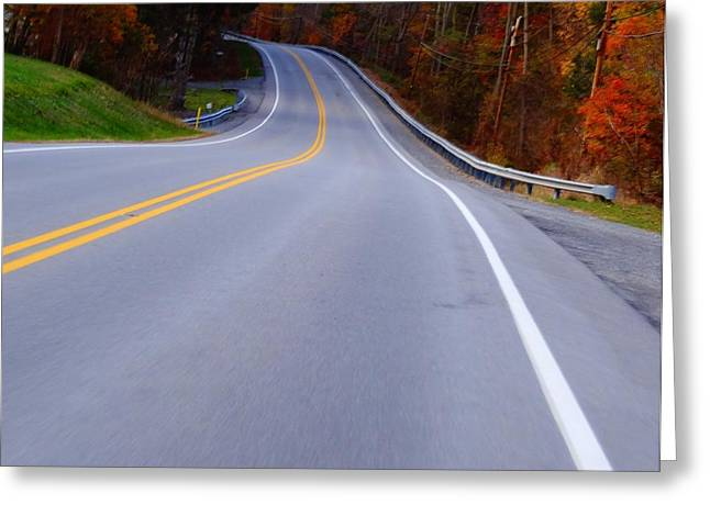 Steering Greeting Cards - Driving Through Fall Greeting Card by Dan Sproul