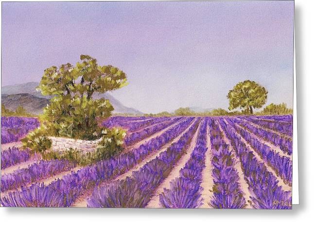 Nature Scene Pastels Greeting Cards - Drome Provence Greeting Card by Anastasiya Malakhova
