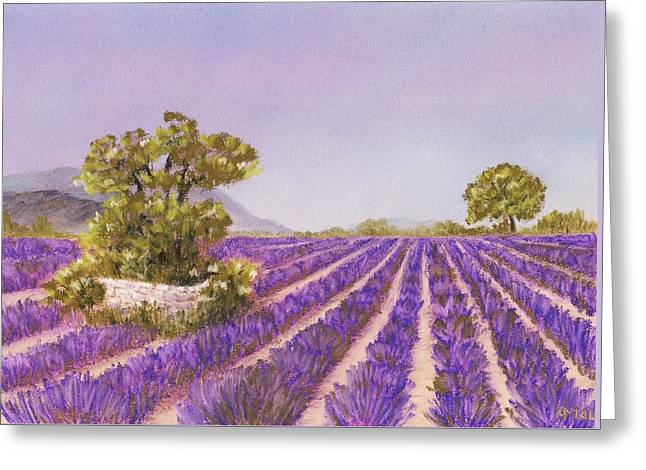 Rural Scene Pastels Greeting Cards - Drome Provence Greeting Card by Anastasiya Malakhova
