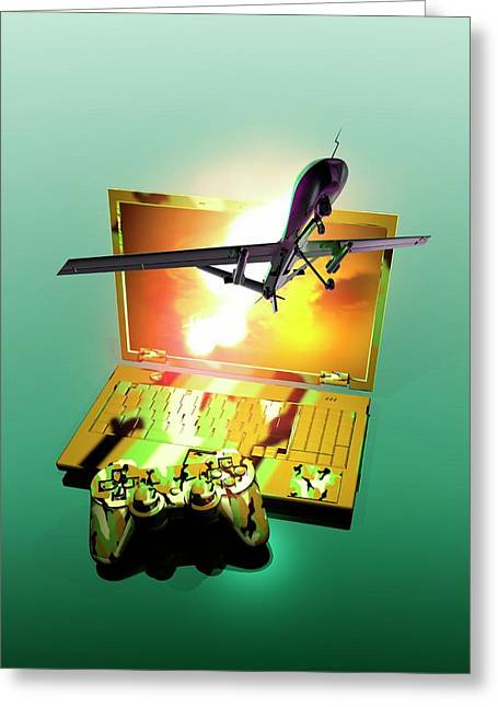 Drone And Games Console Greeting Card by Victor Habbick Visions