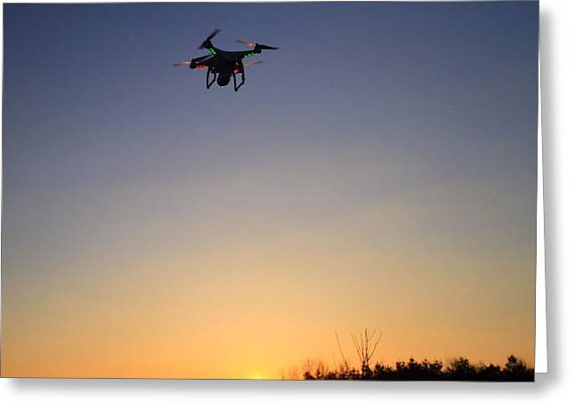 Hovering Greeting Cards - Drone At Sunset Greeting Card by Dan Sproul