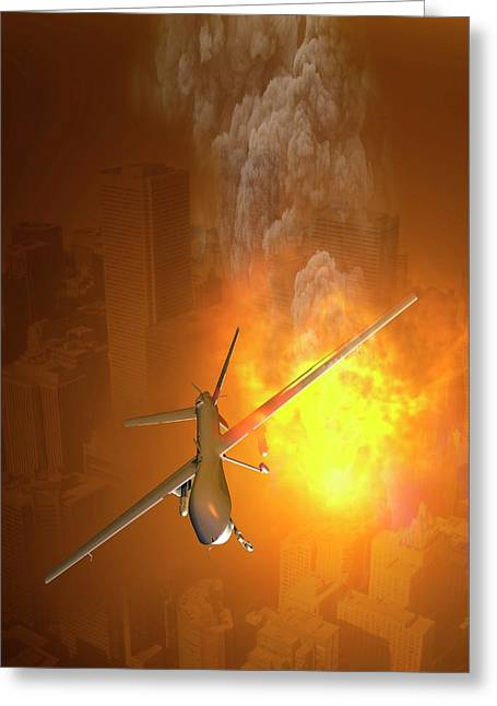 Drone Flying Above City Greeting Card by Victor Habbick Visions